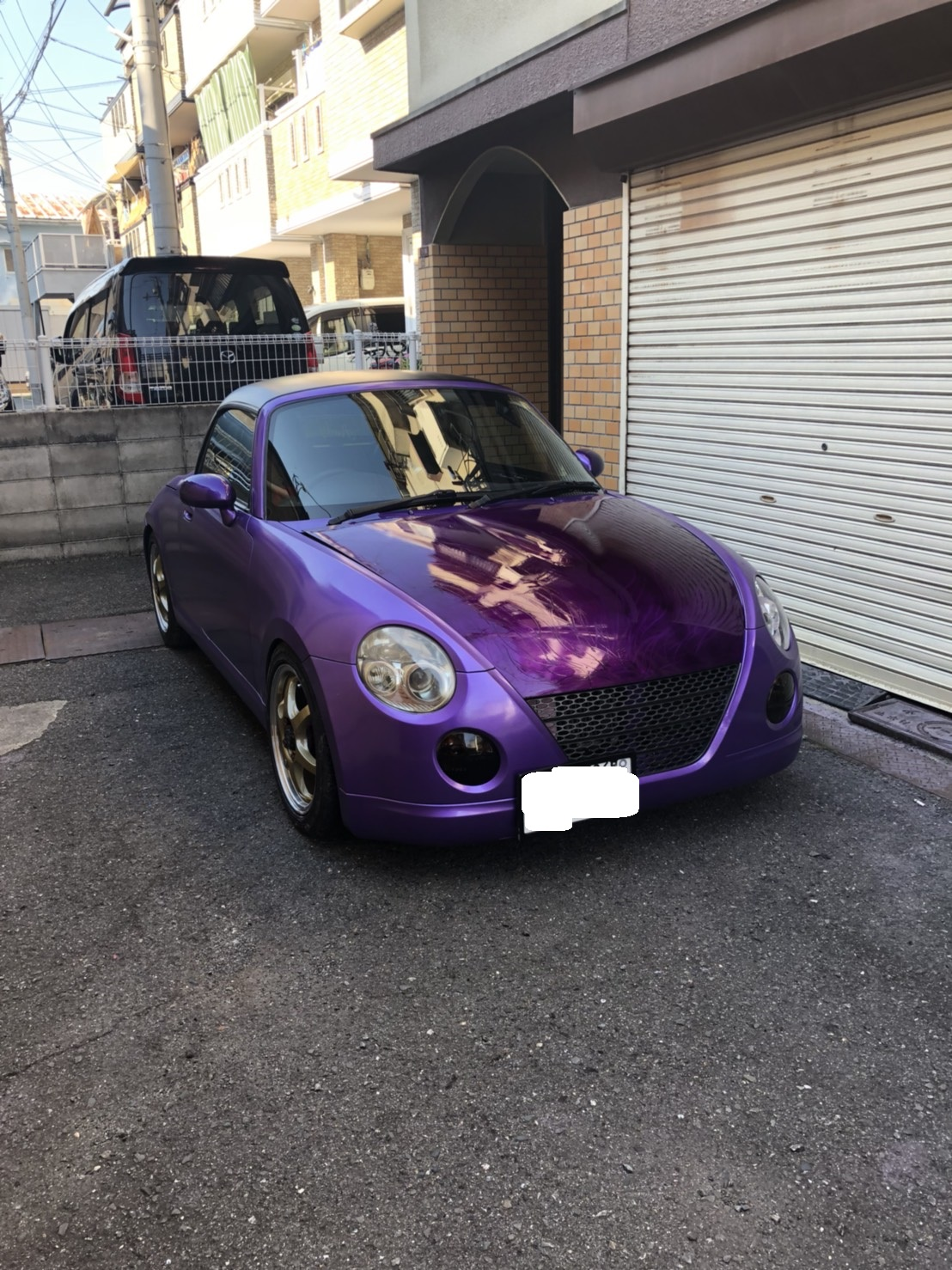 【DIY】L880K コペン 3度目!! ルーフブラックからのパープルメタリックオールペン(紫に全塗装)